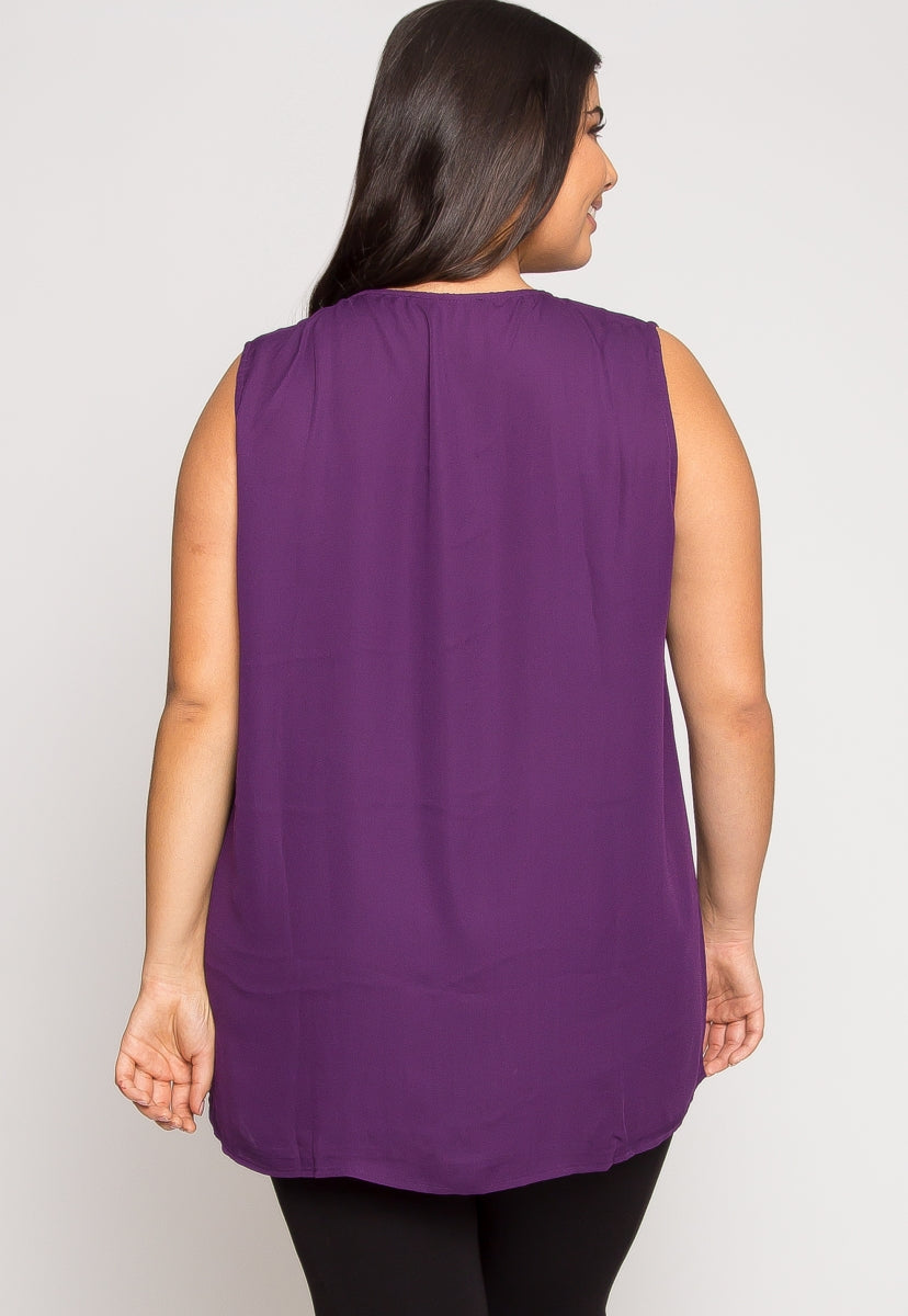 Plus Size Sweet Moments Blouse in Purple - Plus Tops - Wetseal