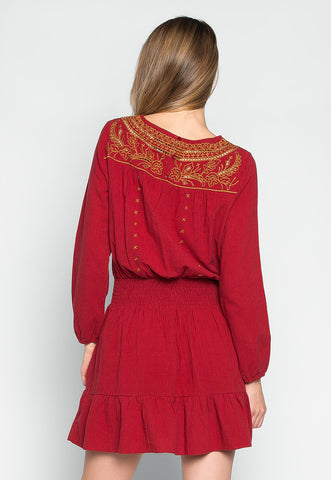 Harmony Boho Smock Waist Mini Dress