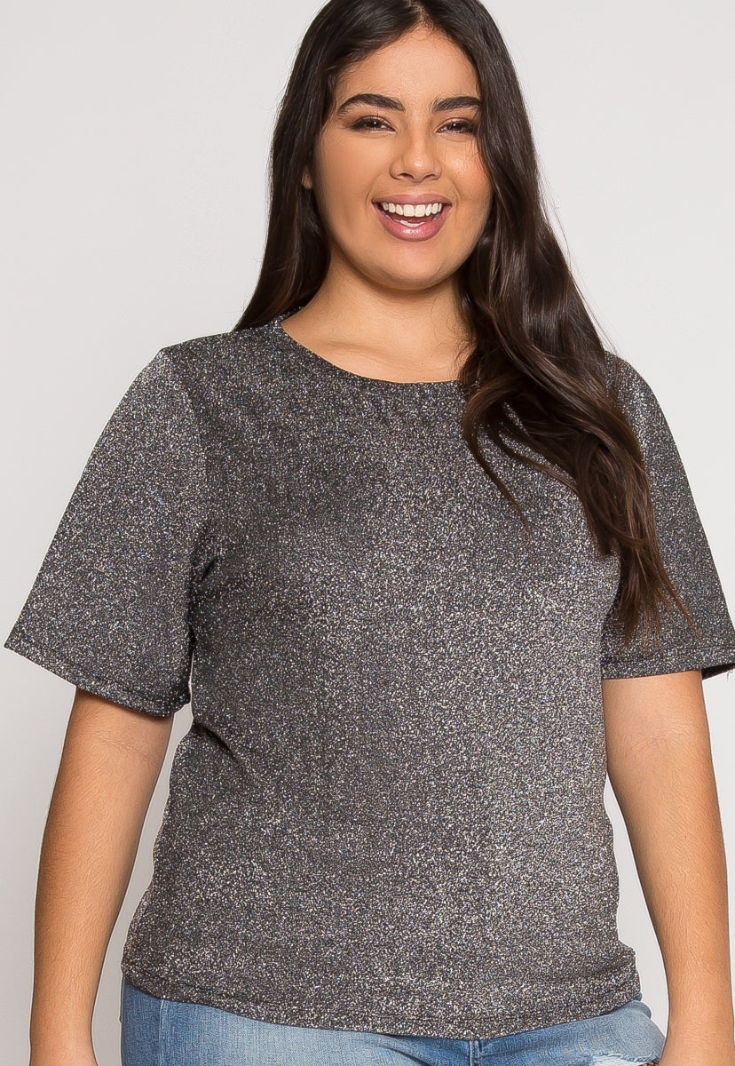 Plus Size Shine Lurex Top in Silver - Plus Tops - Wetseal
