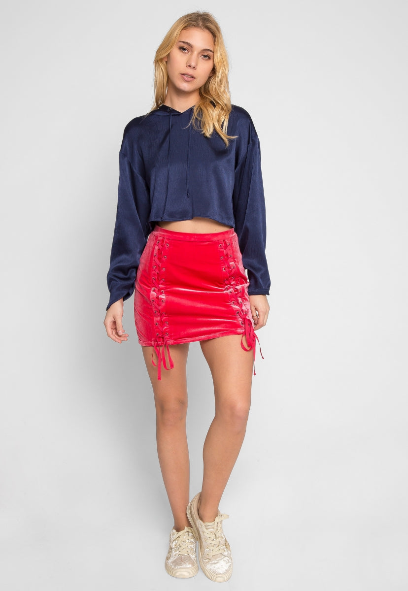 Sporty Glam Satin Hoodie Cropped Top - Shirts & Blouses - Wetseal
