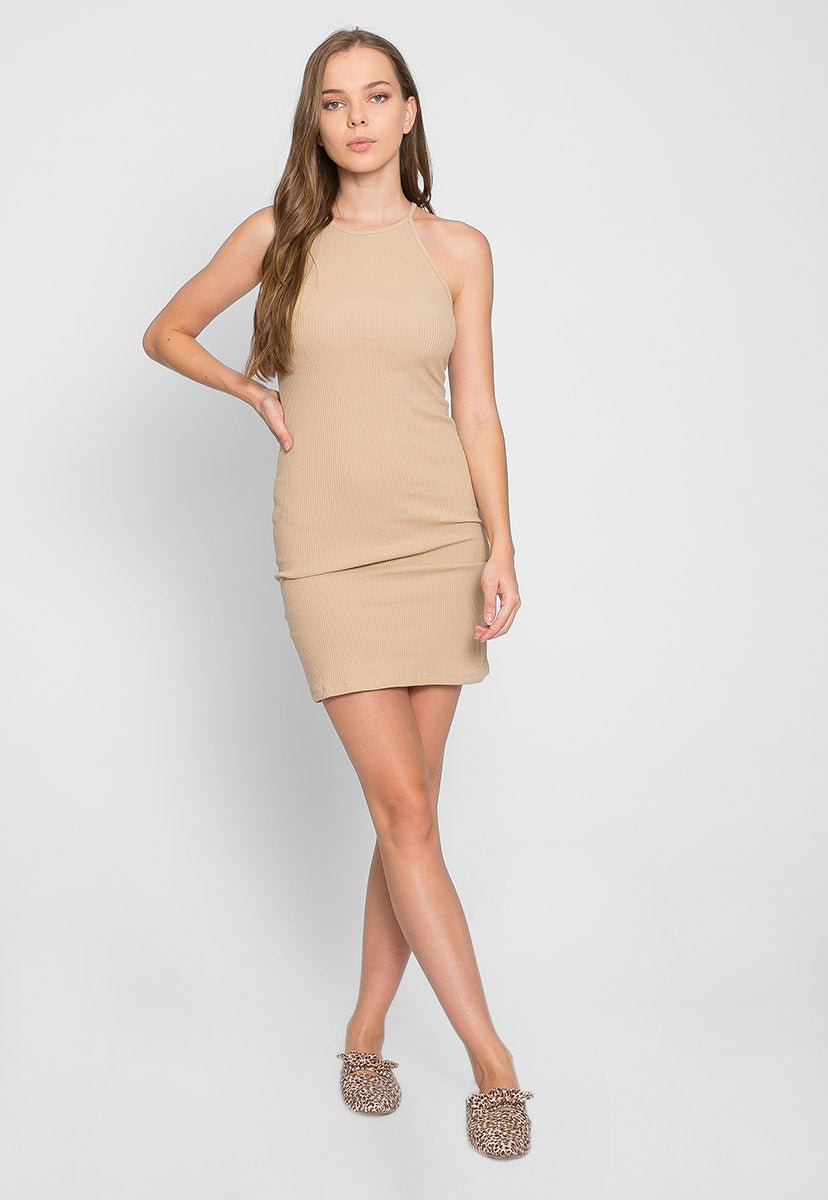 Lush Rib Knit Halter Bodycon Dress in Beige - Dresses - Wetseal