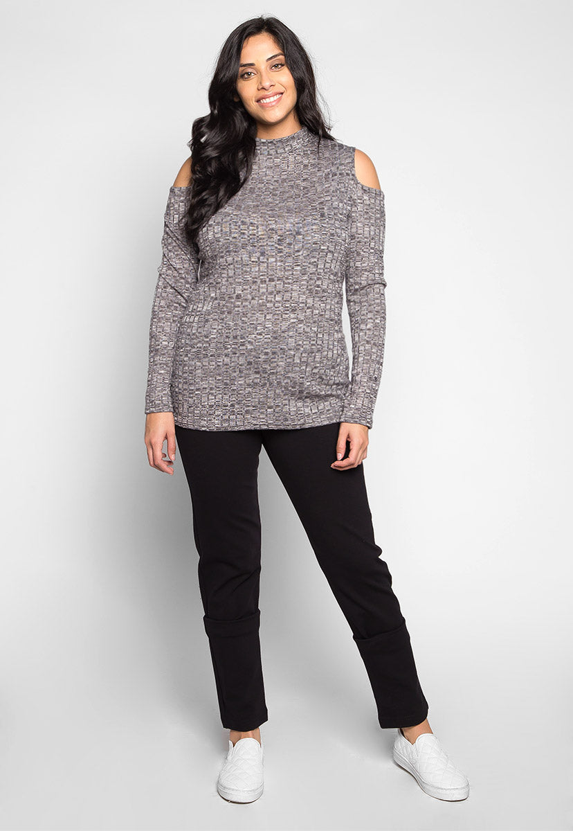 Plus Size Alaska High Neck Heathered Knit Top - Plus Tops - Wetseal