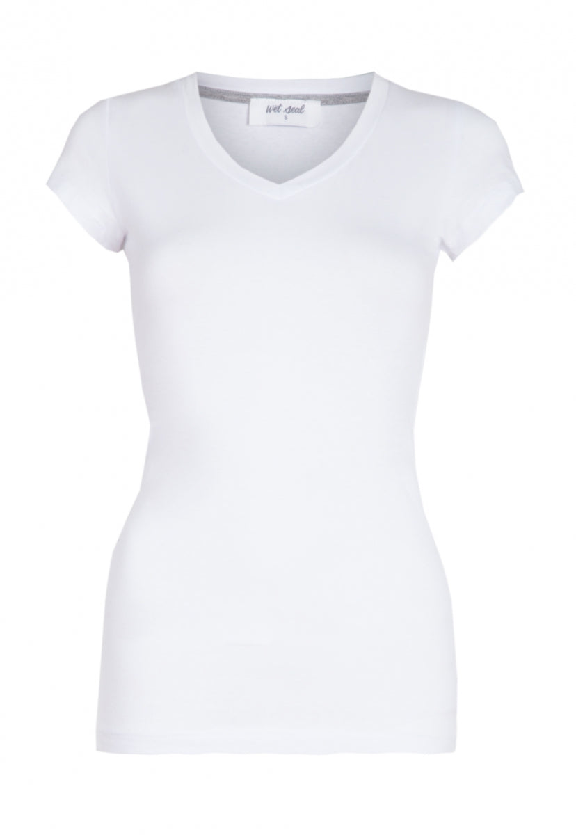 Venus V-Neck Tee in White - T-shirts - Wetseal