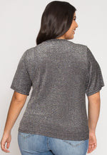 Plus Size Shine Lurex Top in Silver
