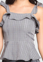 London Plaid Peplum Top in Black