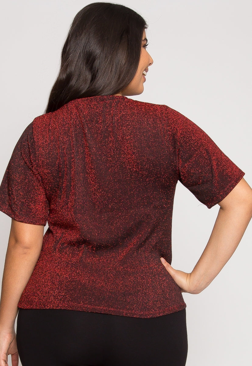 Plus Size Shine Lurex Top in Wine - Plus Tops - Wetseal