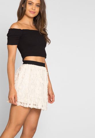 Clover Textured Mini Skirt