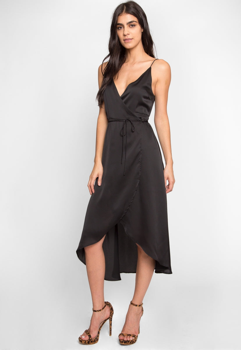Laura Satin High Low Wrap Dress in Black - Dresses - Wetseal