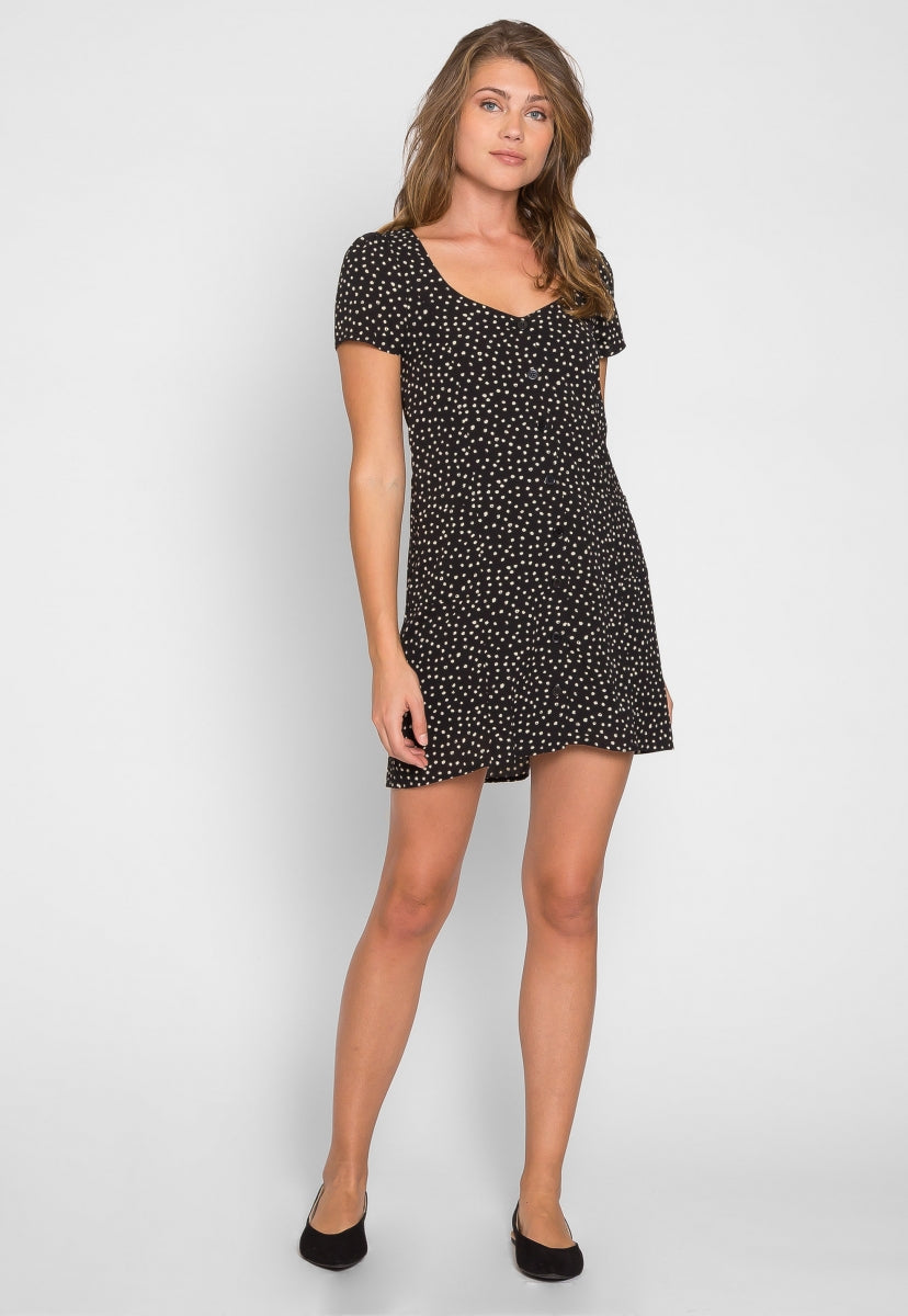 Bliss Button Front Polka Dot Dress - Dresses - Wetseal