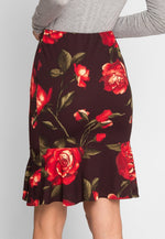 Tango Floral Trumpet Skirt in Brown
