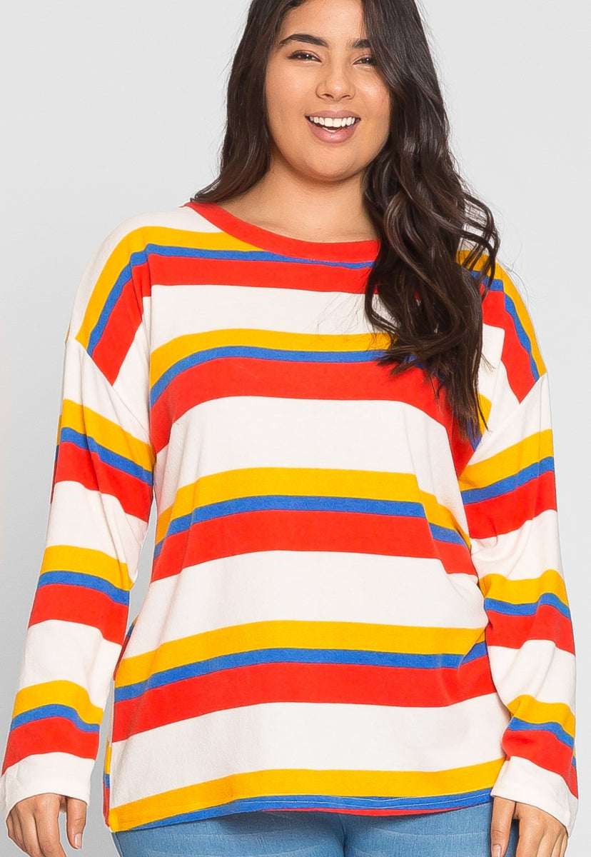 Plus Size Sweetie Multi Stripe Top - Plus Tops - Wetseal