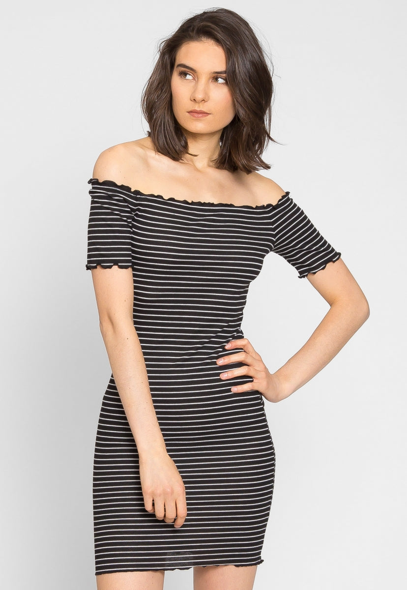 Ginger Lettuce Edge Stripe Dress in Black - Dresses - Wetseal