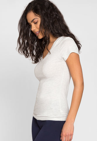 Olivia Fitted V-Neck Tee in Oatmeal