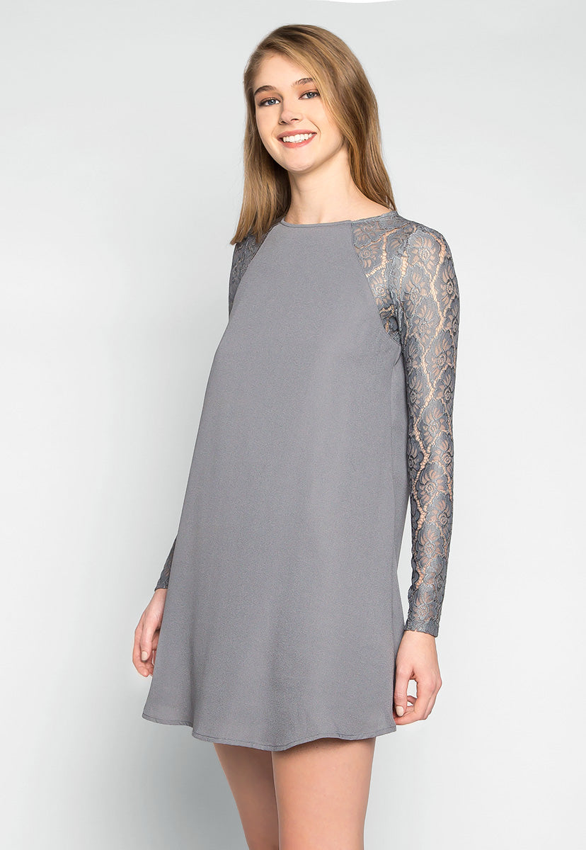 Valerie Lace Sleeves Tunic Dress - Dresses - Wetseal