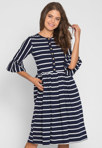 Albany Stripe Midi Dress