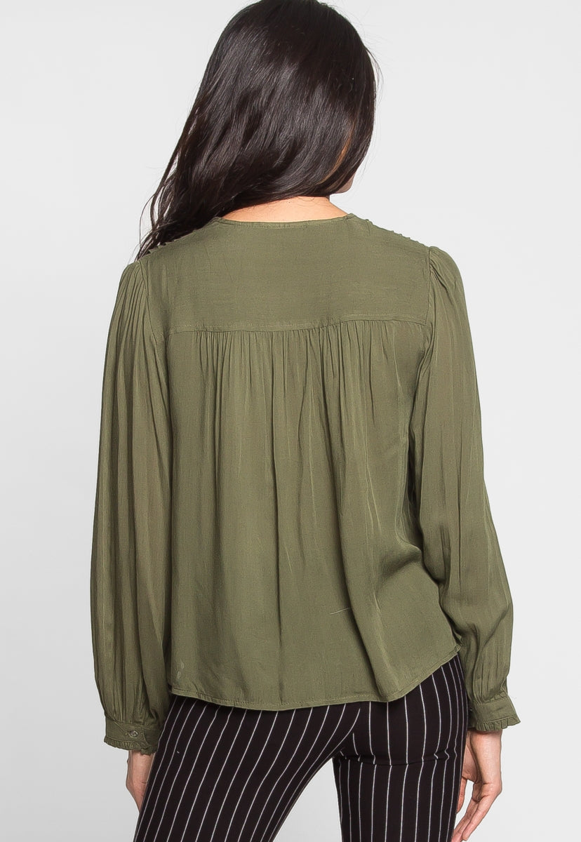 Berrymore Pintuck Blouse in Olive - Shirts & Blouses - Wetseal
