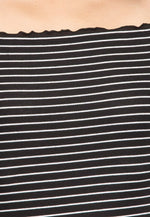 Ginger Lettuce Edge Stripe Dress in Black