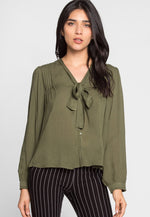 Berrymore Pintuck Blouse in Olive
