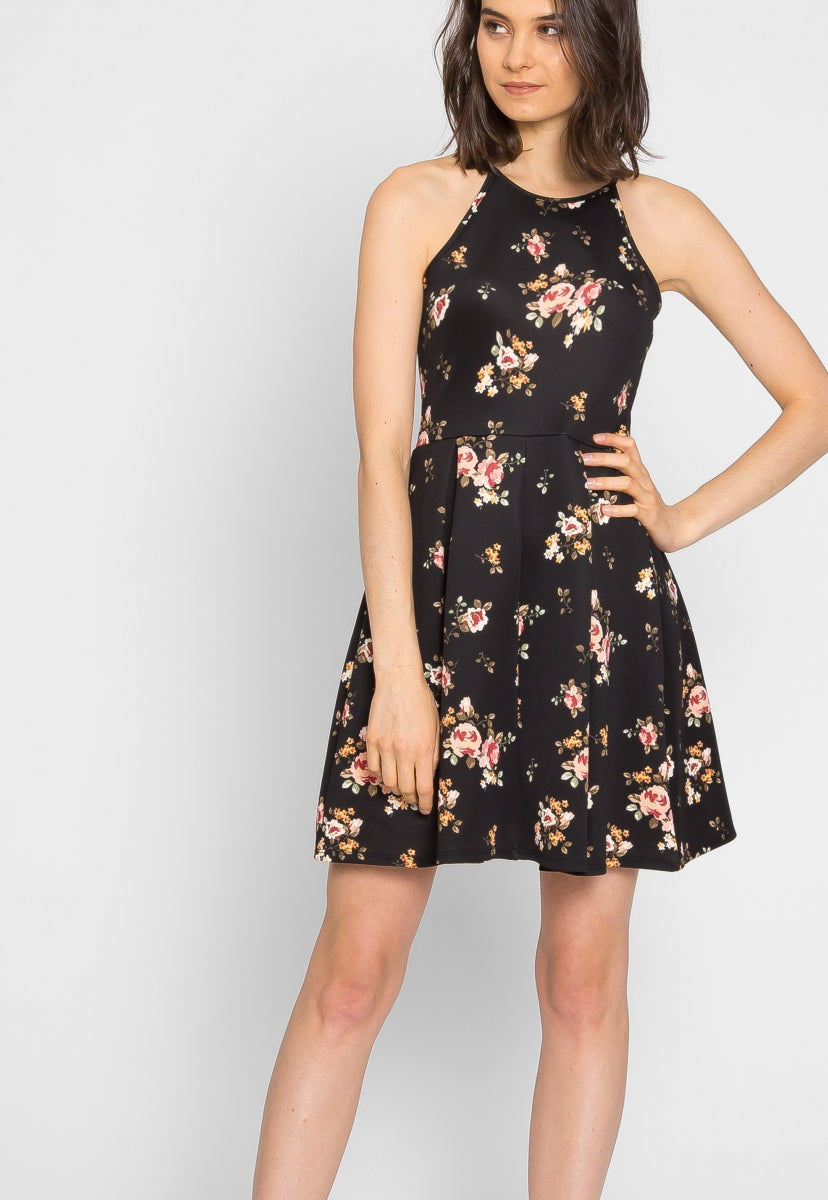Fig Floral Halter Fit and Flare Dress - Dresses - Wetseal