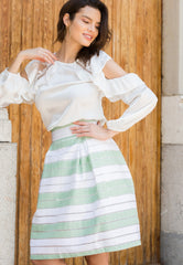 Sagewood Stripe Bell Skirt by Wet Seal