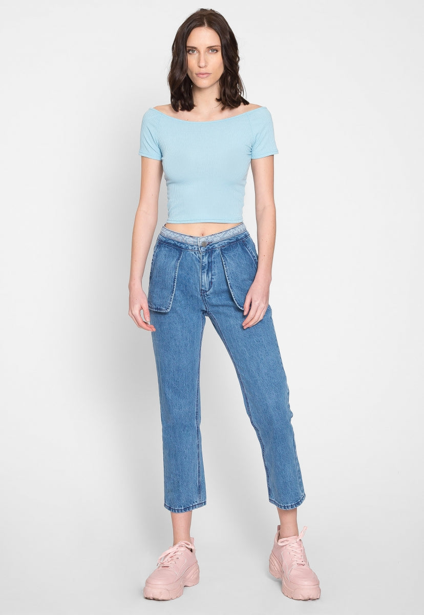Modern Off Shoulder Top in Light Blue - Shirts & Blouses - Wetseal