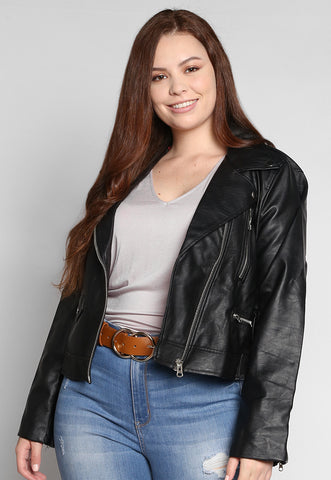 Plus Size Rockstar Leather Jacket