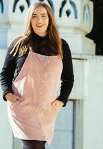 Plus Size Corduroy Pinafore Dress in Pink