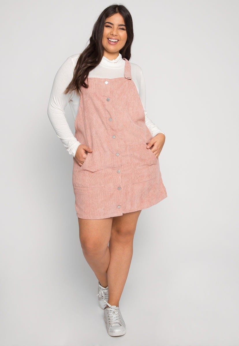 Plus Size Corduroy Pinafore Dress in Pink - Plus Dresses - Wetseal