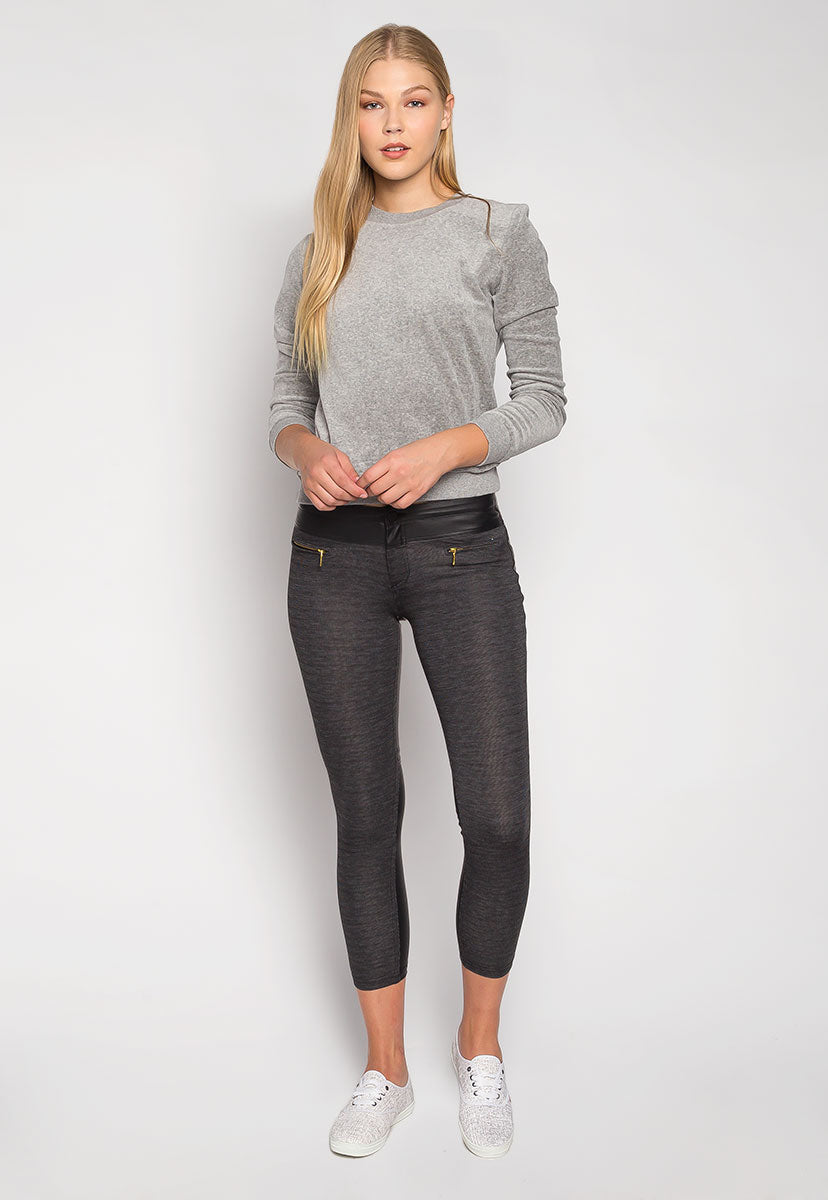 Like a Rockstar Knit Front Heathered Pants - Pants - Wetseal