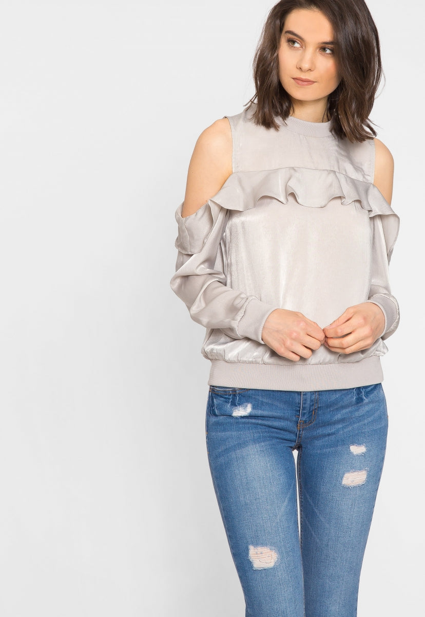Cold Shoulder Satin Sweater Top - Shirts & Blouses - Wetseal
