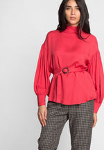 Mock Neck Belted Blouse in Red