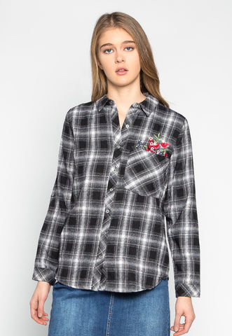 I Don't Care Plaid Embroidered Shirt