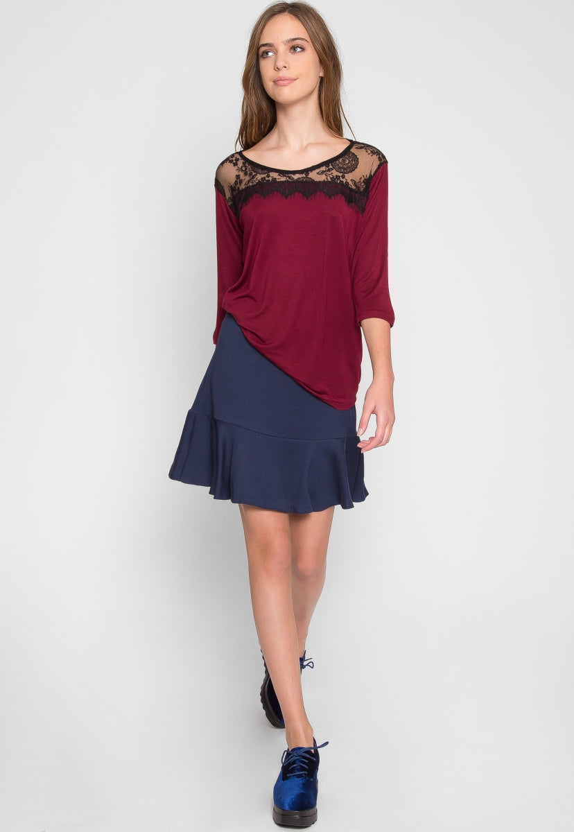 Junipero Lace Yoke Top in Burgundy - Shirts & Blouses - Wetseal