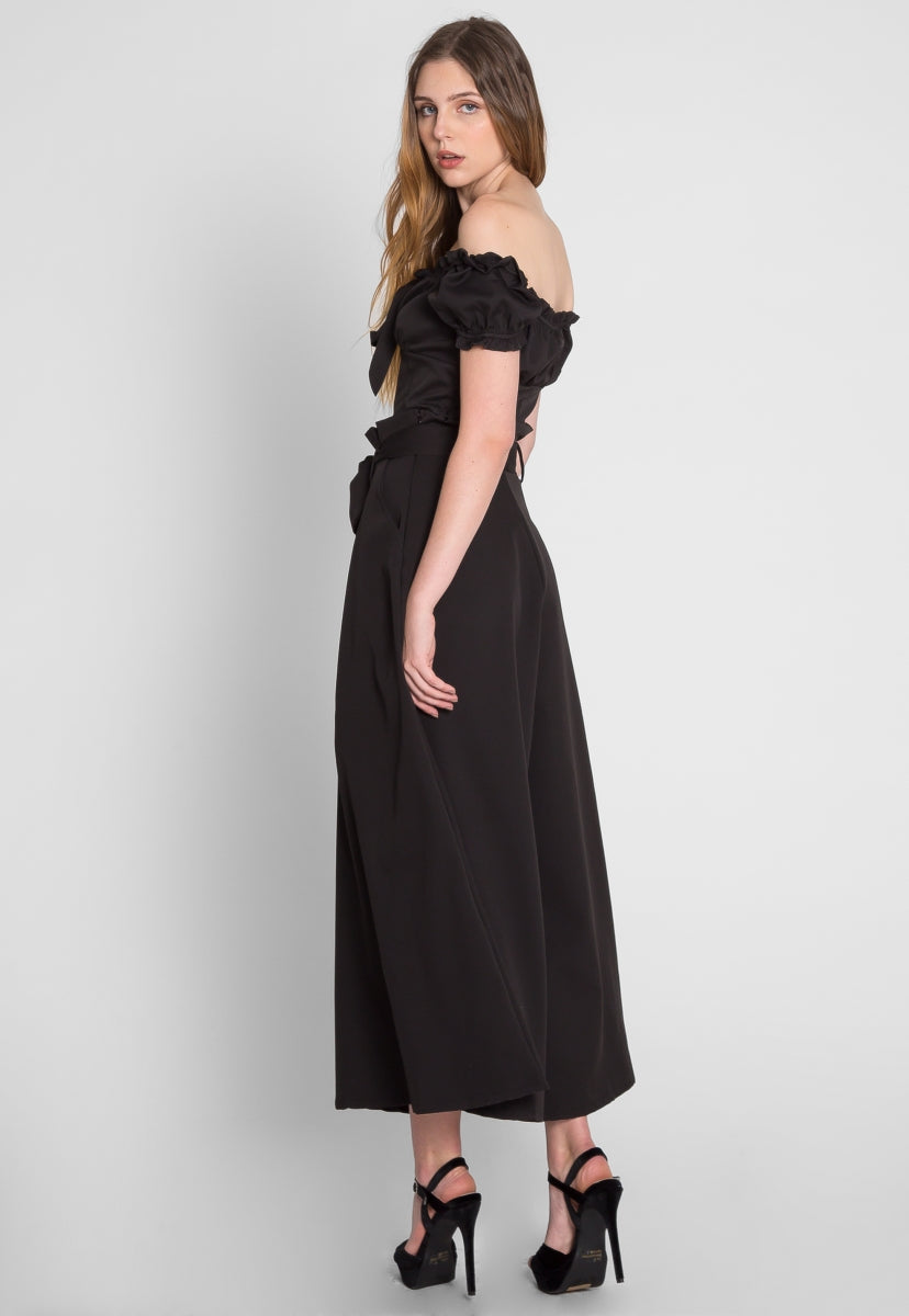 Wicked Wide Leg Pant Two Piece Set in Black - Set - Wetseal