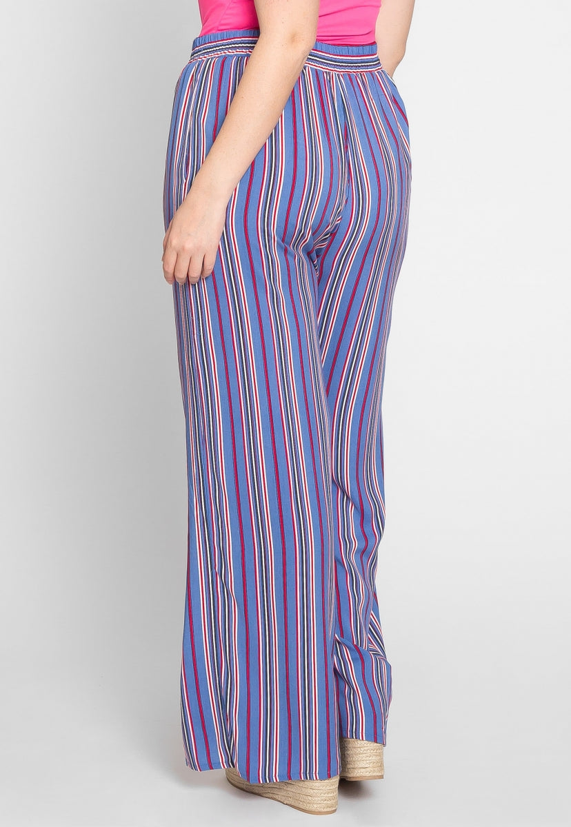 Plus Size Santa Monica Stripe Pants in Blue - Plus Bottoms - Wetseal
