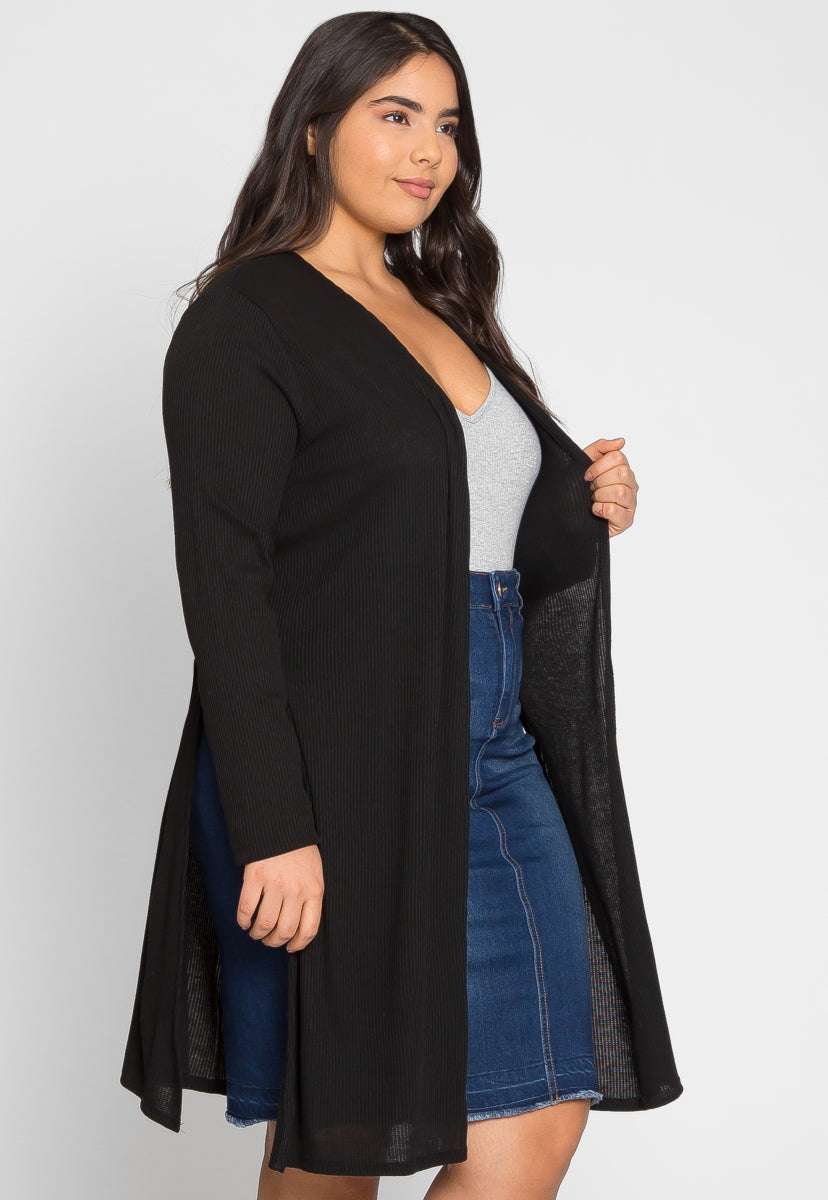 Plus Size Baby Knit Cardigan in Black - Plus Outerwear - Wetseal