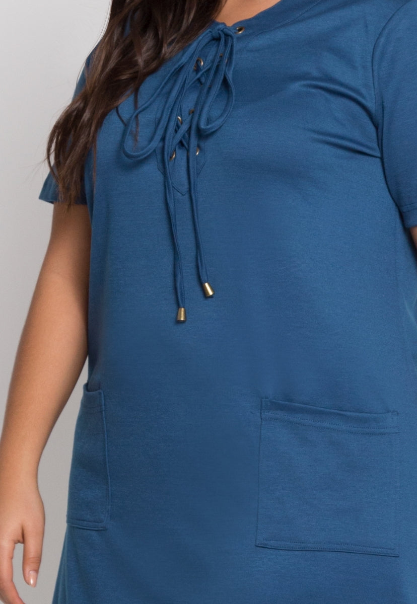 Plus Size Homebound Lace Up Dress in Teal - Plus Dresses - Wetseal