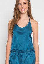 Satin Halter Romper in Teal