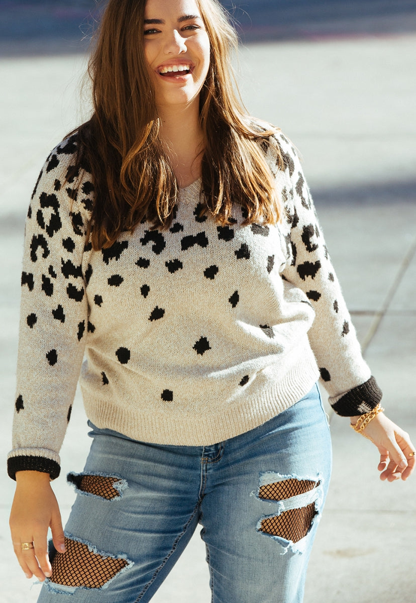 Plus Size Divine Leopard Sweater in Ivory - Plus Outerwear - Wetseal