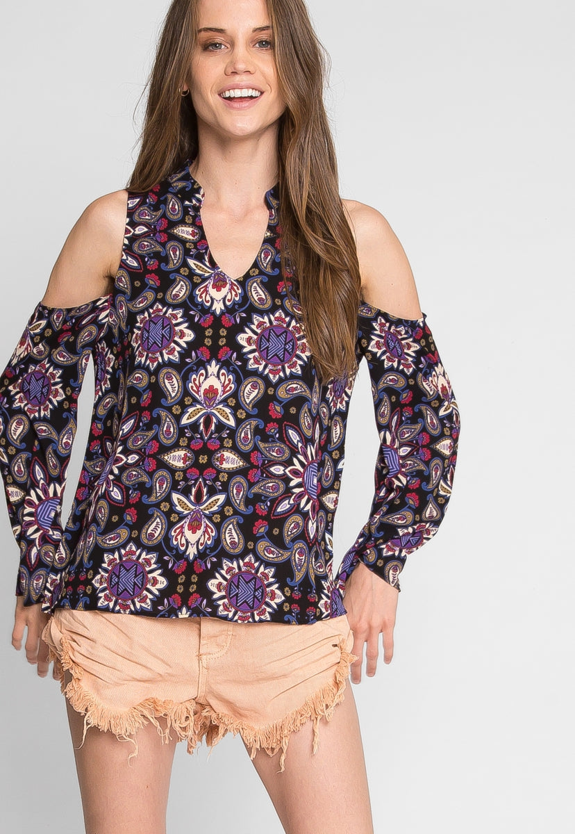 Art Deco Printed Top - Shirts & Blouses - Wetseal
