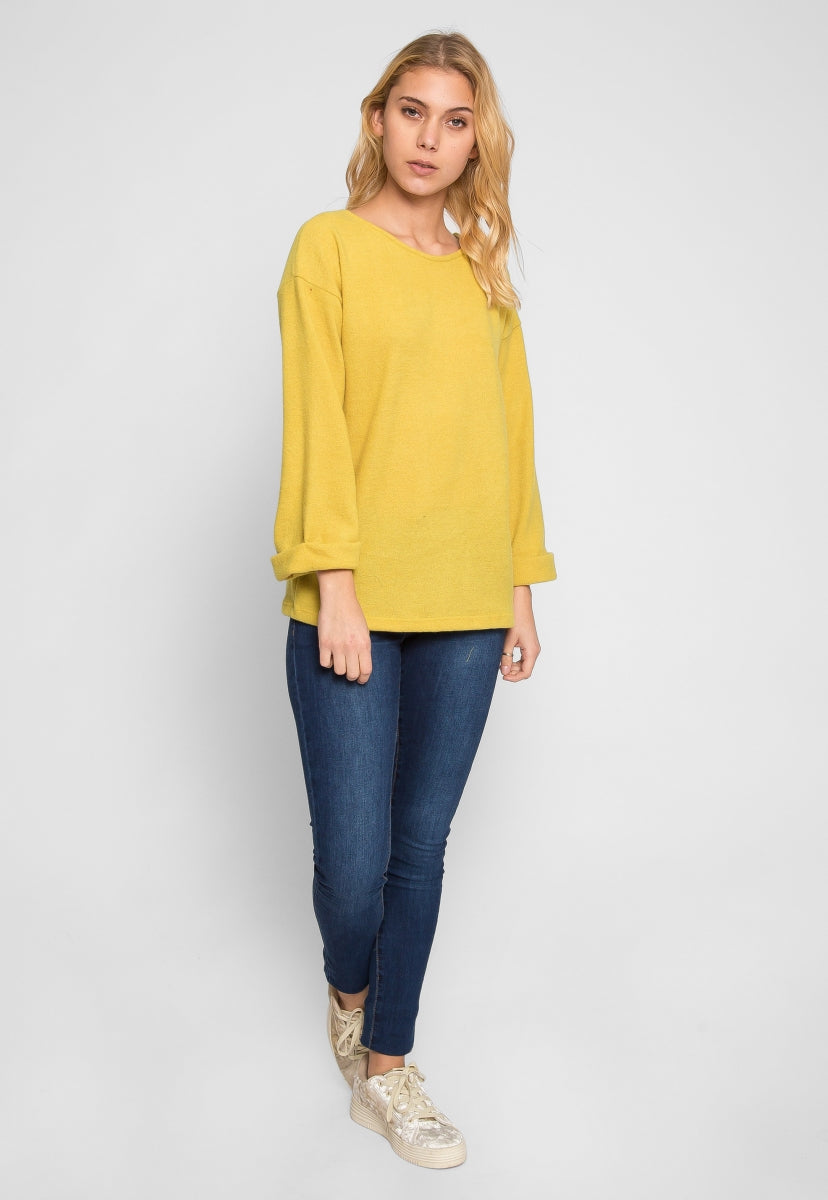 WIND DOWN KNOT BACK SWEATER IN ORANGE - Shirts & Blouses - Wetseal
