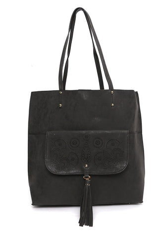 Paisley Perforated Tote Handbag