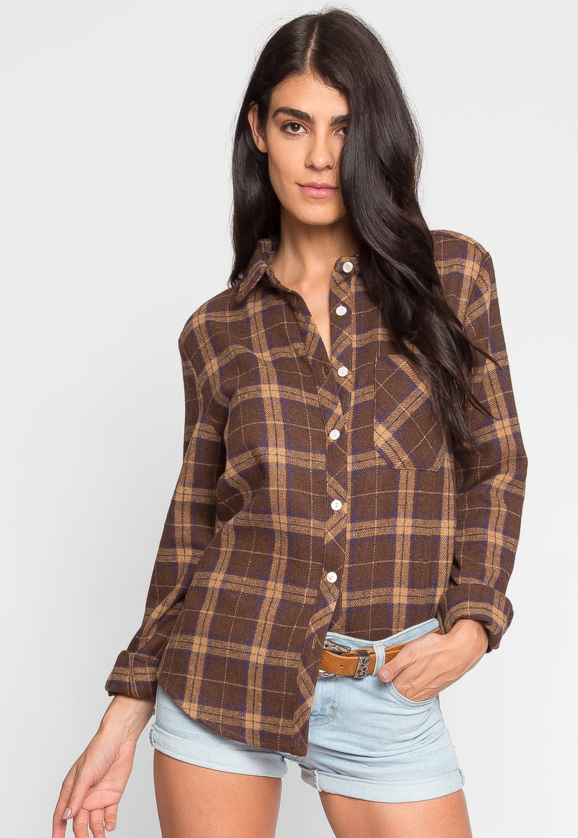 heavyweight plaid flannel button up in brown wet sealheavyweight plaid flannel button up in brown