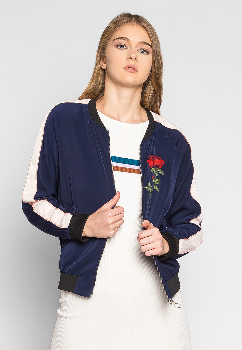 Night Feelings Floral Embroidered Bomber Jacket - Jackets & Coats - Wetseal