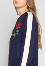 Night Feelings Floral Embroidered Bomber Jacket