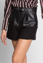 Gabrielle Tweed Faux Leather Shorts