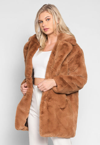 Loving Winter Faux Fur Coat in Mocha