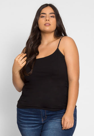 Plus Size Cali Basic Cami Top in Black