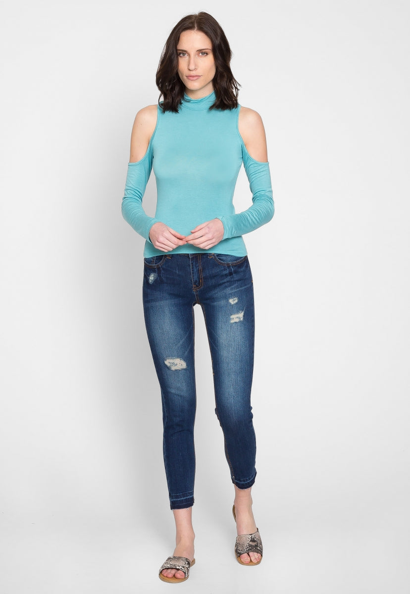 Hot and Cold Mock Neck Top in Light Blue - Shirts & Blouses - Wetseal