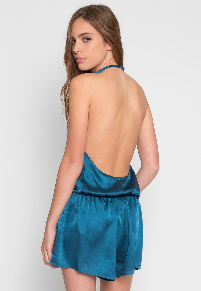 Satin Halter Romper in Teal - Rompers & Jumpsuits - Wetseal